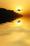 Airplane fly to  the sun. Airplane returning from the mission Royalty Free Stock Photos
