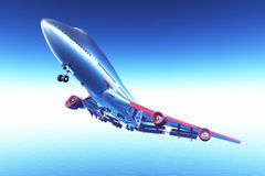 Airplane Flying 3D render 02 Royalty Free Stock Photography