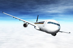 Airplane Flying 3D render. Clouds , flight,transpotation Stock Photos