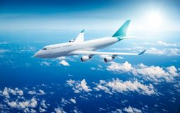 Airplane flying above clouds. 3D Rendering Royalty Free Stock Images