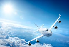 Airplane flying above clouds. 3D Rendering royalty free illustration