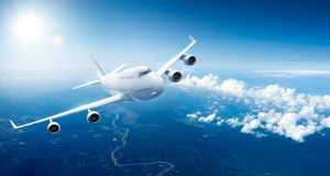 Airplane flying above clouds. 3D Rendering vector illustration