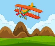 An airplane flying above the ground vector illustration