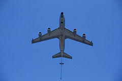 Airplane flying above Royalty Free Stock Photography