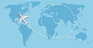 Airplane flying above world map. Aircraft travelling flat vector concept. Flight travel world map illustration royalty free illustration