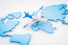 Airplane flying above world map. 3d rendering airplane flying above world map Stock Photos