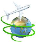 Airplane flying around the earth Stock Photo