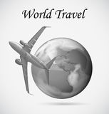 Airplane flying around the earth Royalty Free Stock Photo