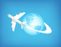 Airplane Flying Around The World Stock Photography
