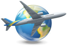 Airplane flying around the world Stock Images