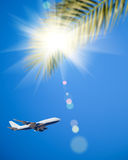Airplane flying in blue sky. Vacations concept Stock Images