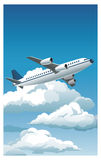 Airplane flying blue sky clouds good weather Royalty Free Stock Images