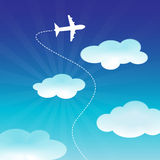 Airplane Flying on the Blue Sky. Gradient blue sky with flying airplane Royalty Free Illustration