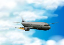Airplane flying in the blue sky. Illustration Royalty Free Stock Images
