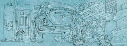 Vintage illustration of 50s cars. Banner,sky stock illustration