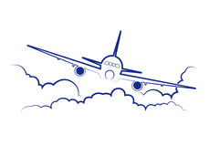 Airplane flying among clouds Royalty Free Stock Photos