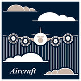 The airplane is flying between the clouds Royalty Free Stock Photography