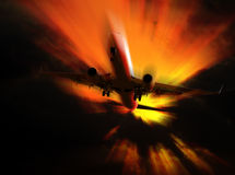 Airplane flying from hell Stock Photo