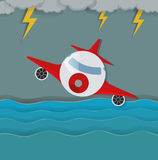 Airplane flying in the middle of storm Royalty Free Stock Photo