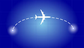 Airplane flying from one point to another Royalty Free Stock Photo