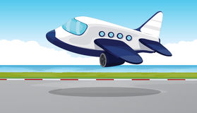 Airplane flying out of the runway Royalty Free Stock Photo