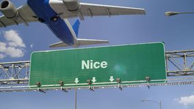 Airplane Take off Nice. Airplane flying over airport signboard stock video