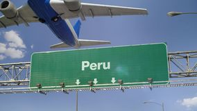 Airplane Take off Peru. Airplane flying over airport signboard stock footage
