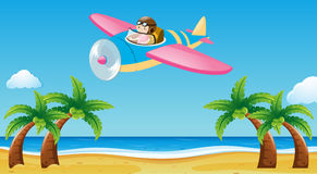 Airplane flying over the beach vector illustration