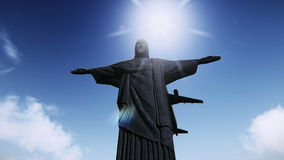 Airplane flying over the Christ the Redeemer video footage vector illustration