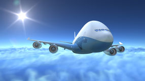 Airplane flying over clouds. 3d render Stock Photo