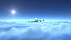 Airplane flying over clouds stock illustration