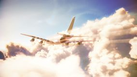 Airplane is flying over the clouds stock illustration