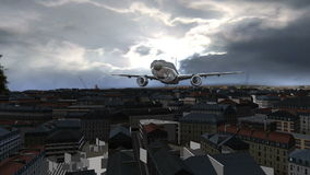 Airplane Flying over 3d city stock footage