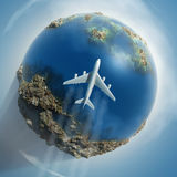 Airplane flying over Earth Royalty Free Stock Photography