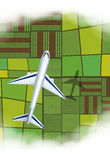 Airplane flying over the farmland Royalty Free Stock Photo