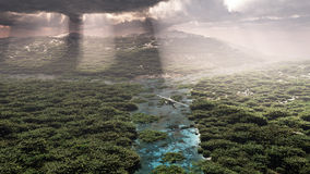 Airplane flying over forest with river. Stock Photos