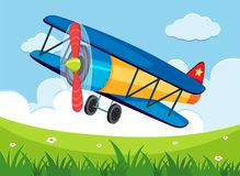 Airplane flying over the green field. Illustration Royalty Free Stock Images