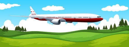 Airplane flying over the green field. Illustration Stock Image