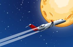 Airplane Flying over the Moon. Illustration Royalty Free Stock Photos