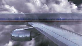 Airplane flying over sky stock illustration