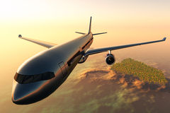 Airplane flying over a tropical island 3d render Stock Image