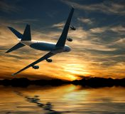 Airplane flying over water in the sunset. 3D illustration Royalty Free Stock Images