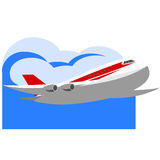 Airplane Flying. Passenger airplane flying in sky with clouds on white background vector illustration