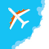 Airplane. Flying on a plane. Flat design, illustration royalty free illustration