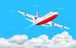 Airplane flying in Sky. Illustration of airplane flying in sky with cloud Royalty Free Stock Images