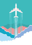 Airplane flying in sky background poster Stock Photography