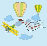 Airplane flying in the sky, balloons, words are welcome. concept of travel day, vector art and illustration. Stock Photos