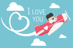 Airplane flying in the sky draw white heart ,I love You Royalty Free Stock Photos