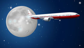 Airplane flying in the sky at night Royalty Free Stock Photos