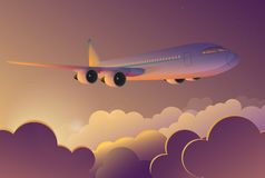 Airplane flying in the sky at sunrise. Airplane travel journey flight vector cartoon illustration. Stock Image